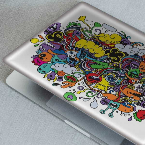 Beyaz Üstüne Renkli Doodle Notebook Sticker