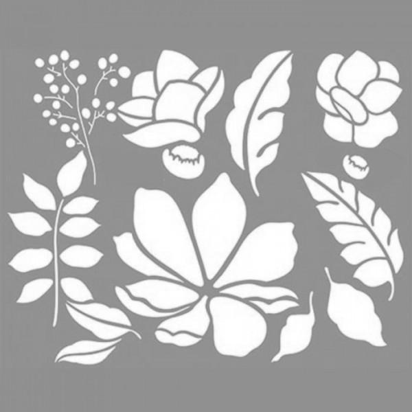 Bitki Kolaj Stencil Tasarımı 30 x 30 cm