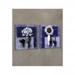 Blue Roses 2 Parça Kanvas Tablo 80X40 Cm
