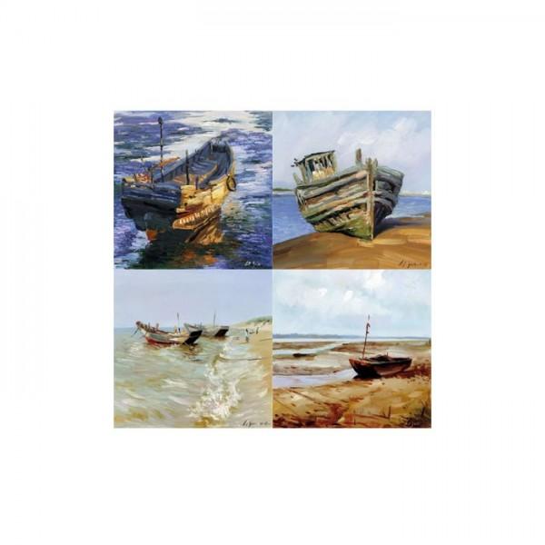 Boats 4 Parça Kanvas Tablo 70X70 Cm