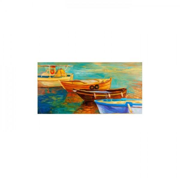 Boats 5 Parça Kanvas Tablo 135X85 Cm