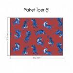Bordo Üzerine Mavi Kaplanlar Notebook Sticker