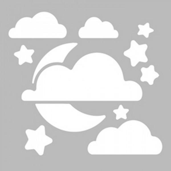 Bulutlu Gece Stencil Tasarımı 30 x 30 cm
