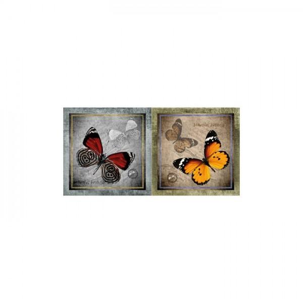Butterfly 2 Parça Kanvas Tablo 80X40 Cm