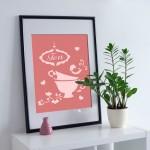 Çay Stencil Tasarımı 30 x 30 cm
