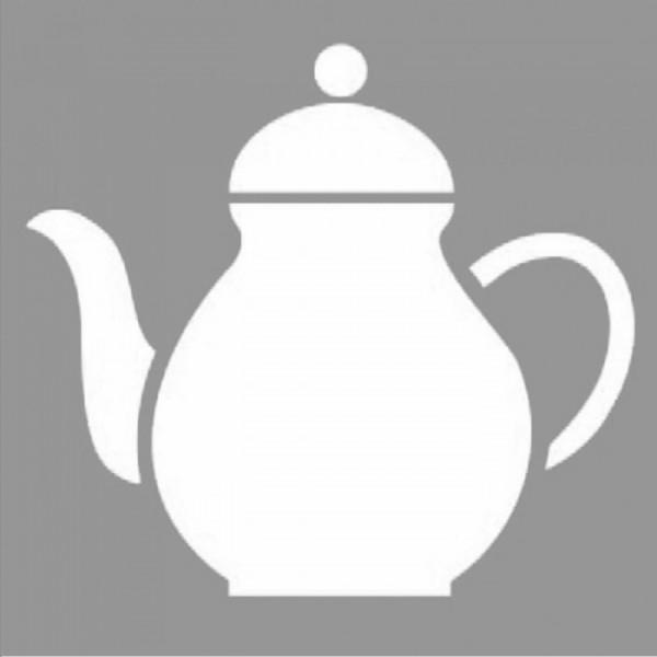 Çaydanlık Stencil Tasarımı 30 x 30 cm