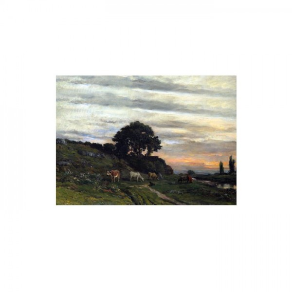 Charles-François Daubigny - Landscape with Cattle by a Stream 50x70 cm