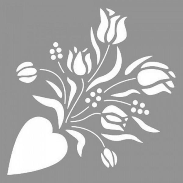 Çiçek Buketi Stencil Tasarımı 30 x 30 cm