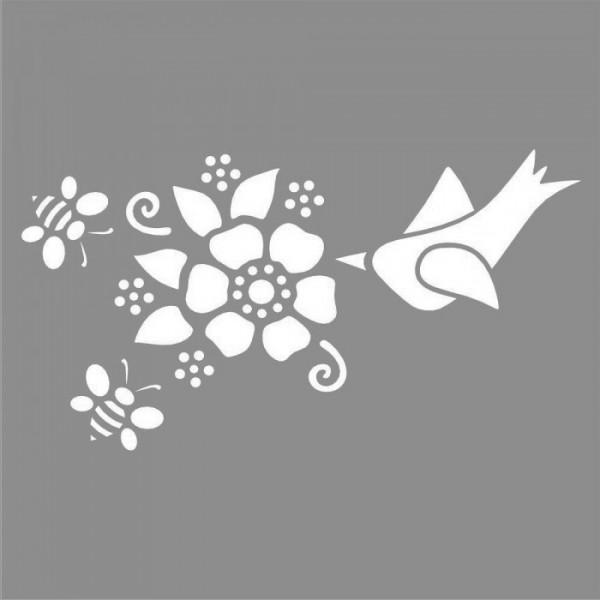 Çiçek ve Kuş Stencil Tasarımı 30 x 30 cm