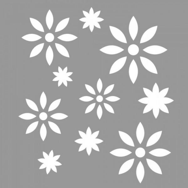 Çiçek Yıldız Desen Stencil Tasarımı 30 x 30 cm