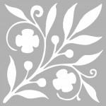 Çiçekli Dal  Stencil Tasarımı 30 x 30 cm