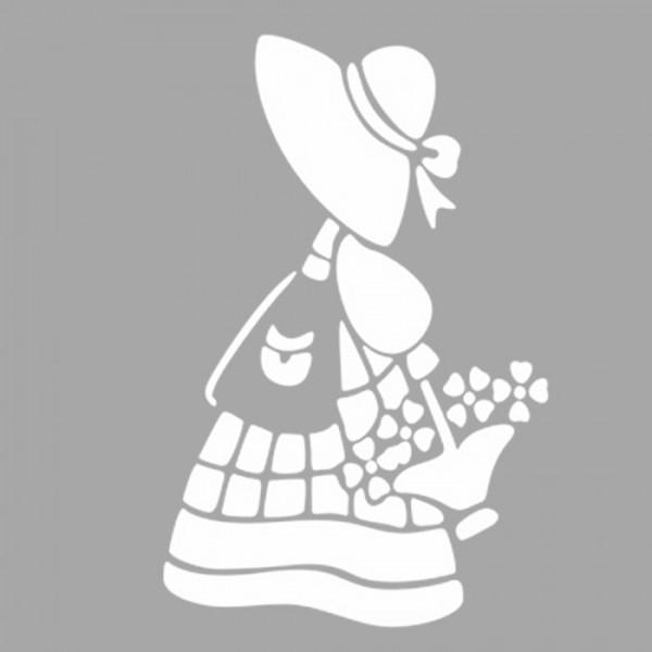 Çiçekli Kadın Stencil Tasarımı 30 x 30 cm