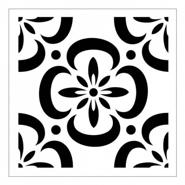 Çiçekli Karo Desen Stencil Tasarımı 30 x 30 cm