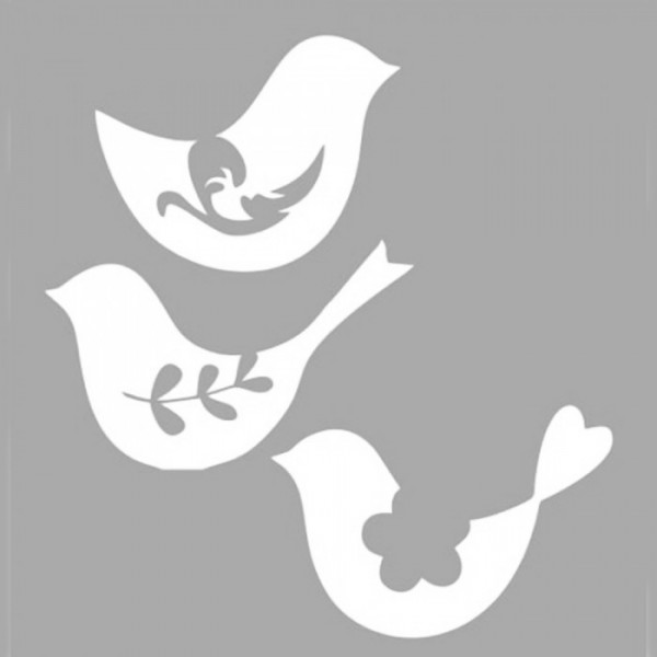 Çiçekli Kuş Stencil Tasarımı 30 x 30 cm