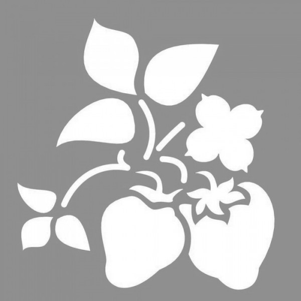 Çilek Bitki Stencil Tasarımı 30 x 30 cm