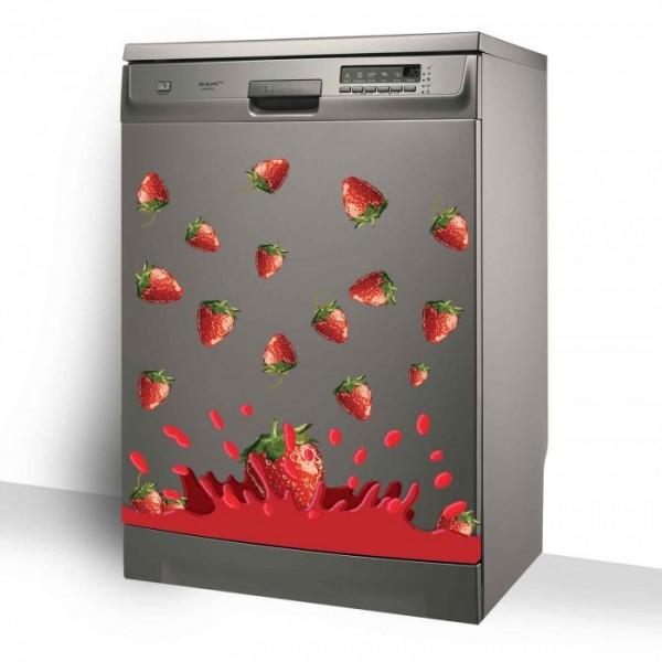 Çilek Bulaşık Makinesi Sticker