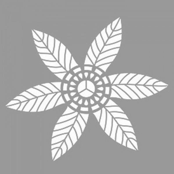 Çizgili Çiçek Stencil Tasarımı 30 x 30 cm