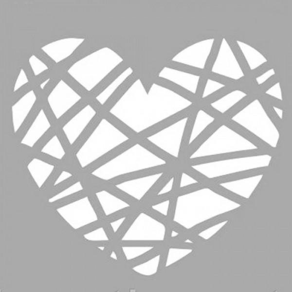 Çizilmiş Kalp Stencil Tasarımı 30 x 30 cm