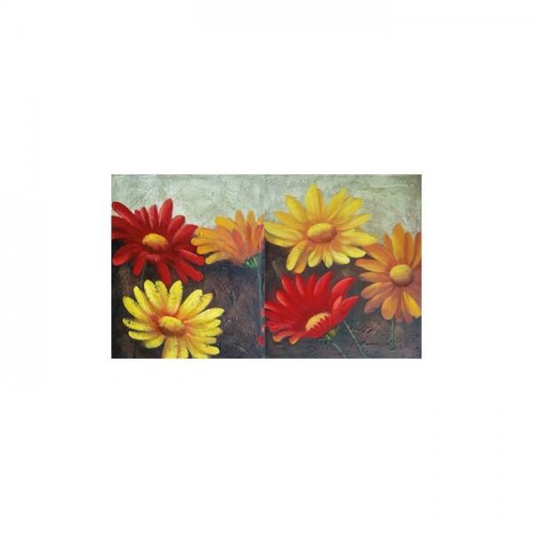 Colorful Daisies 2 Parça Kanvas Tablo 60X40 Cm