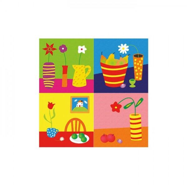 Colorful Life 4 Parça Kanvas Tablo 70X70 Cm