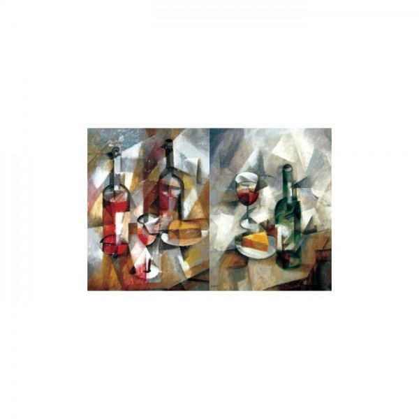Cubism Wine 2 Parça Kanvas Tablo 60x40 Cm