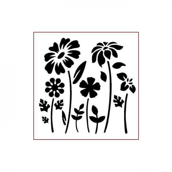 Dağ Çiçekleri Stencil Tasarımı 30 x 30 cm