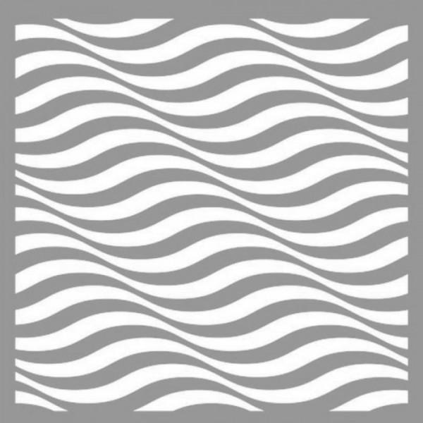 Dalga İlüzyon Stencil Tasarımı 30 x 30 cm