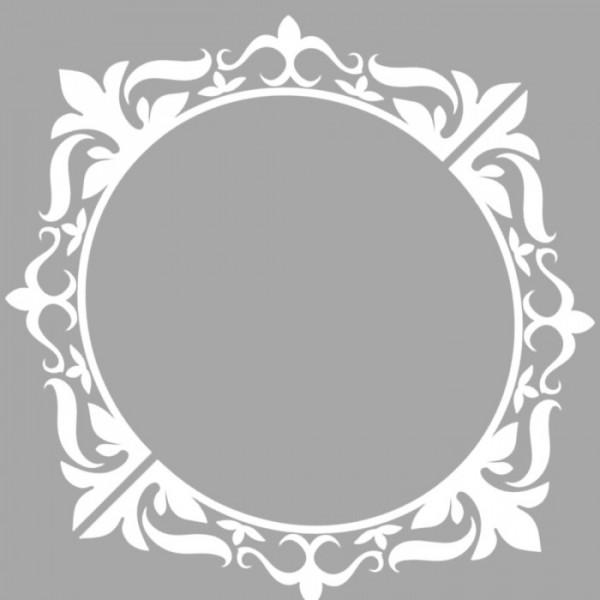 Damask Ayna Stencil Tasarımı 30 x 30 cm