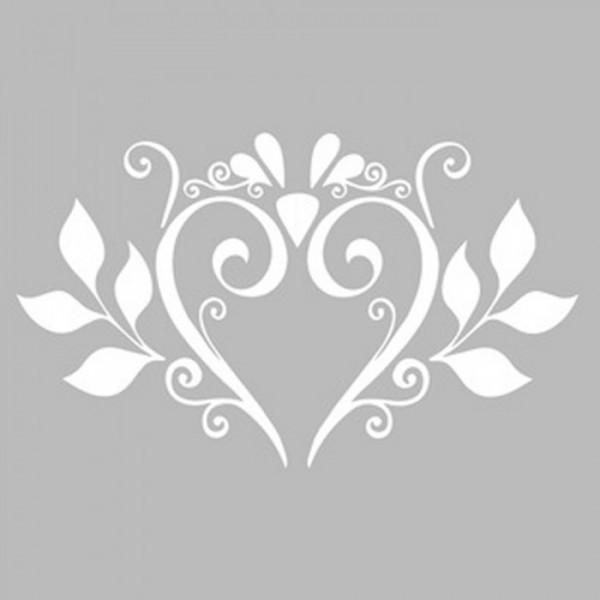 Damask Kalp Desen Stencil Tasarımı 30 x 30 cm