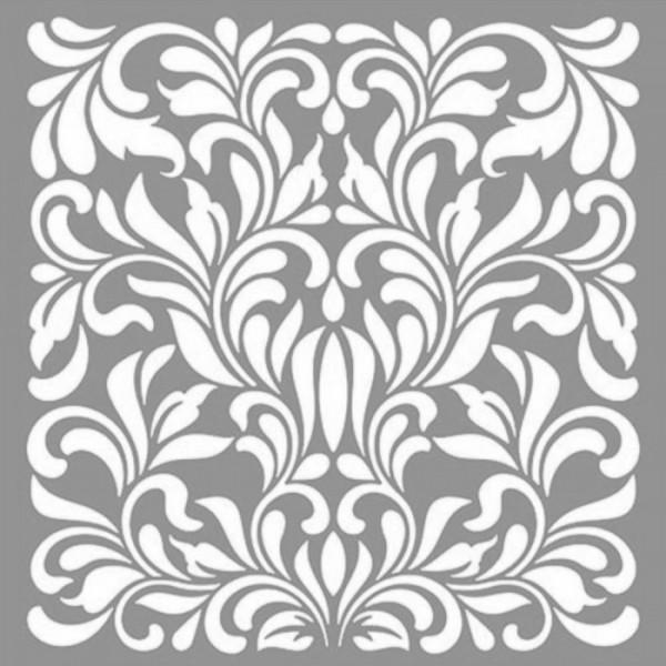 Damask Pansy Stencil Tasarımı 30 x 30 cm