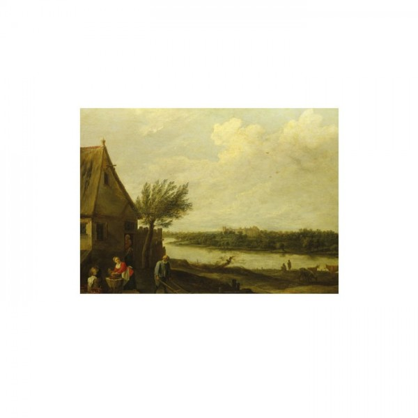 David Teniers the Younger-A Cottage by a River with a Distant View 50x70 cm