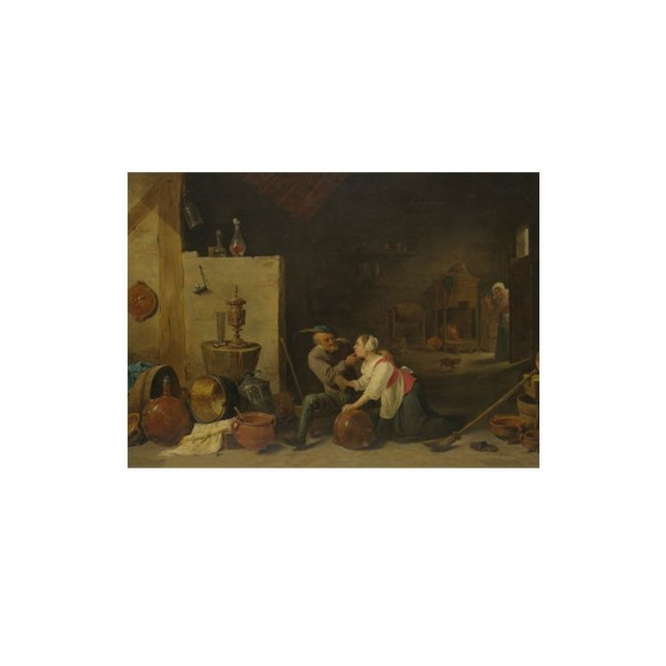 David Teniers the Younger-Old Peasant Caresses a Kitchen Maid in a Stable 50x70