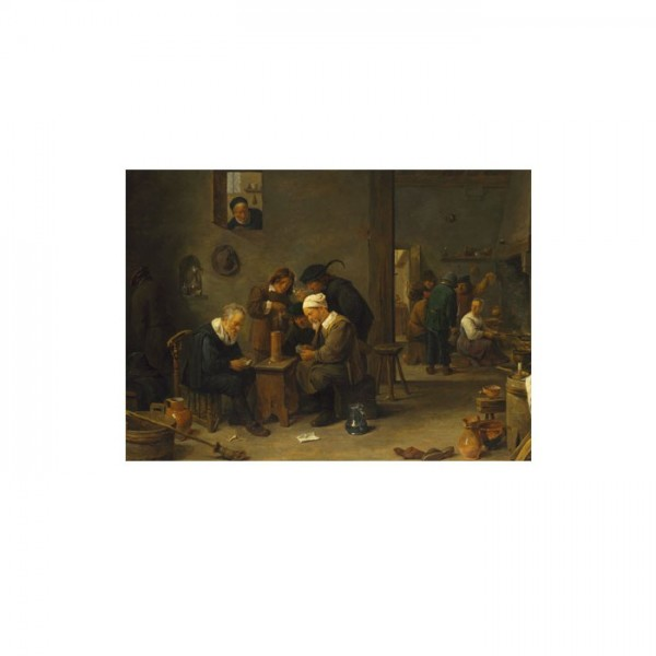 David Teniers the Younger-Two Men Playing Cards in the Kitchen of an Inn 50x70