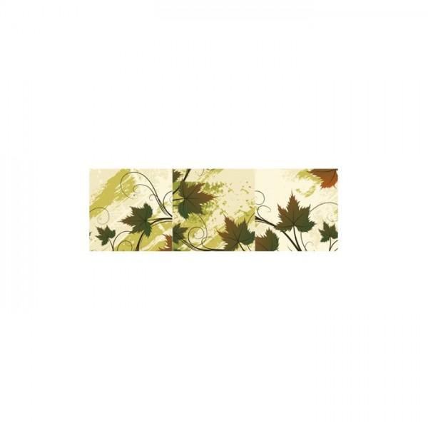 Decorative Leaves 3 Parça Kanvas Tablo 120x40 Cm