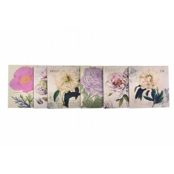 Decotown 6'lı Çiçek Motifli Desenli Ahşap Bardak Altlığı Seti