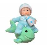 Decotown Hediyelik Sevimli Mavi Bebek Biblo Polyester Süs Eşyası