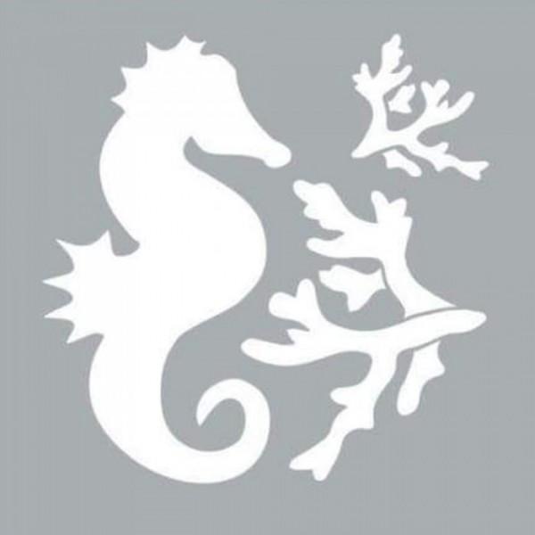 Deniz Atı ve Mercan Stencil Tasarımı 30 x 30 cm