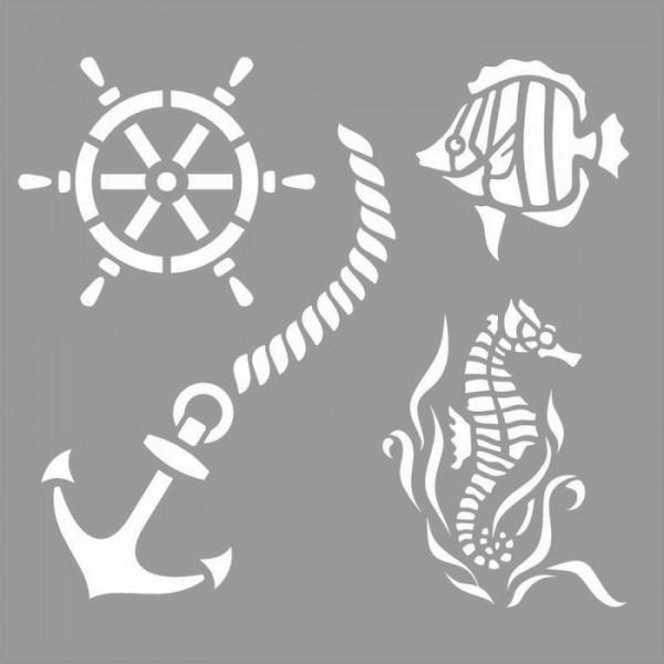 Deniz Hayatı Stencil Tasarımı 30 x 30 cm
