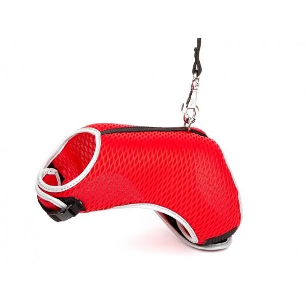 Doggie Havalı Ped Göğüs Tasma Seti Kırmızı 25*30 cm + 110 cm