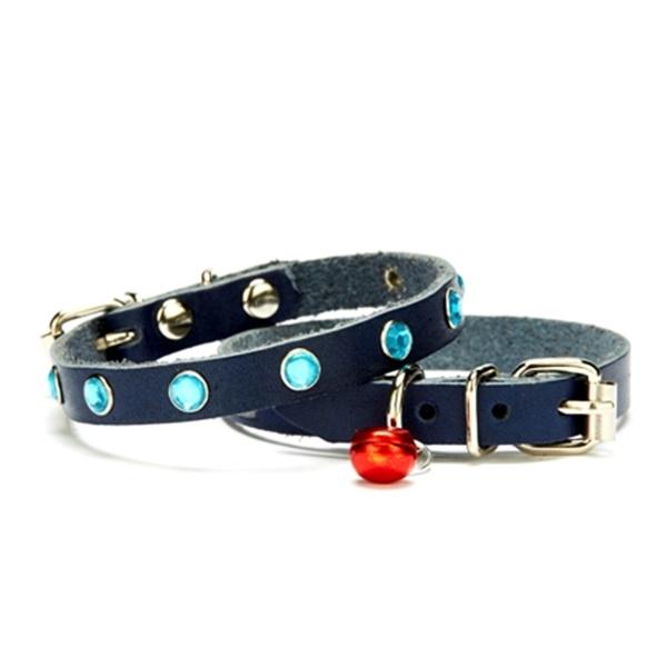 Doggie Taşlı Kedi ve Yavru Köpek Tasması 1,0x19 cm Mavi Small