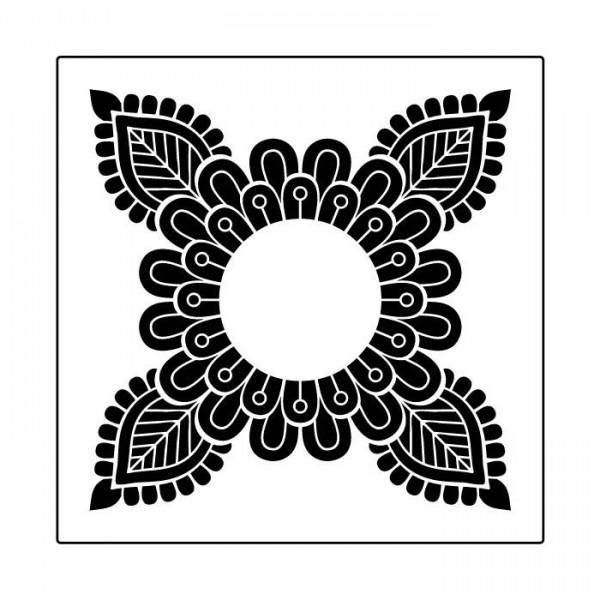 Dört Uçlu Mandala Stencil Tasarımı 30 x 30 cm