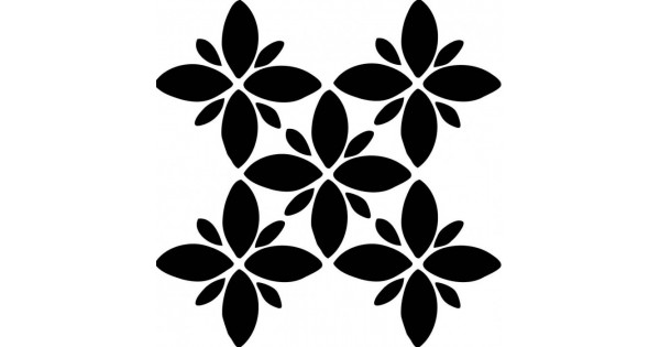Dort Yaprakli Cicek Karo Stencil Tasarimi 30 X 30 Cm