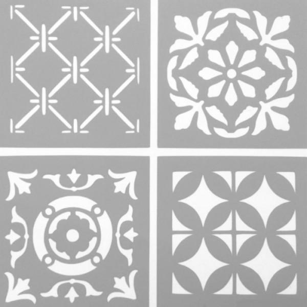 Dörtlü Karo 2 Stencil Tasarımı 30 x 30 cm