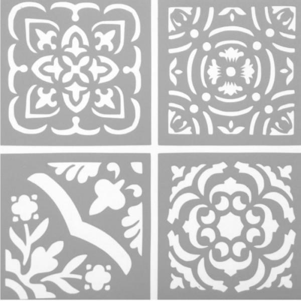 Dörtlü Karo Stencil Tasarımı 30 x 30 cm