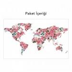 Dünya Haritası 3 Duvar Sticker, Duvar Çıkartması, Çocuk Odası Sticker DP-1674