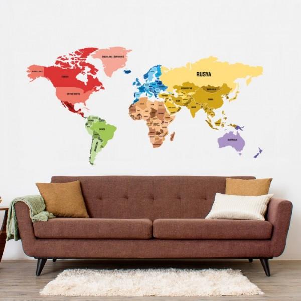 Dünya Haritası 4 Duvar Sticker, Duvar Çıkartması, Çocuk Odası Sticker DP-1675