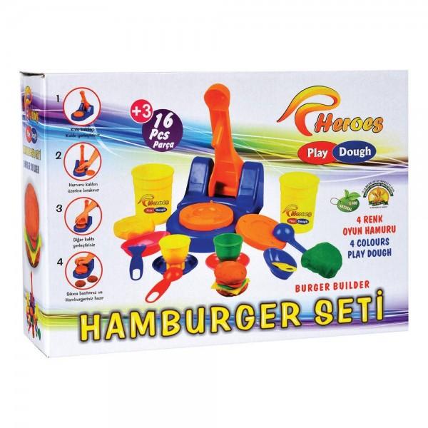 Eğitici Eğlenceli Hamburger Ustası 16 Parça Oyun Hamuru Seti