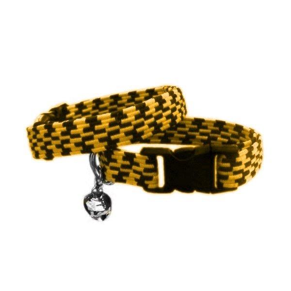 Elastik Örme Kedi Tasması Sarı-Siyah 10 mm A=23/32 cm