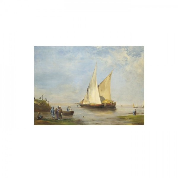 Eugène Fromentin - The Banks of the Nile 50x70 cm