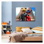 Eyfel Uğurböceği ve Karakedi  50X70 Kanvas Tablo, Kanvas, Tablo, Çocuk Odası, Duvar Süsü, Kanvas Tablo, Duvar Dekorasyonu